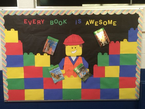 "Lego Movie bulletin board ""Every Book is Awesome!"":"