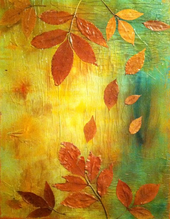 Original Mixed Media Textured Fall Leaf Painting on Etsy, $100.00