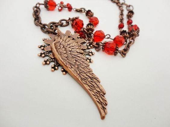 Steampunk Necklace Copper Wing Wanderer by by DrBrassysSteampunk