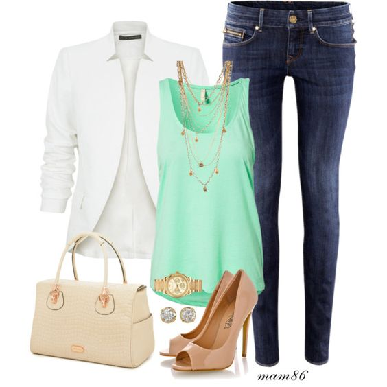 this is another dressy outfit and instead of heels some white flats, cute sandals or wedges would do if u don't wear heels
