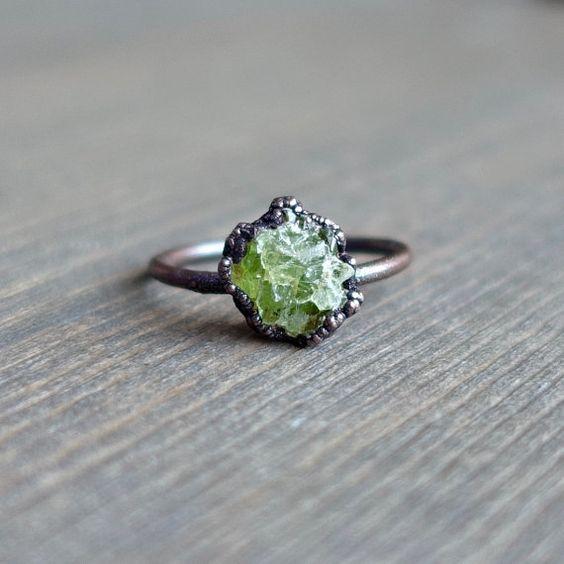 Raw peridot ring | Raw ring | Raw crystal ring | Peridot jewelry | Electroformed ring | Raw stone ring