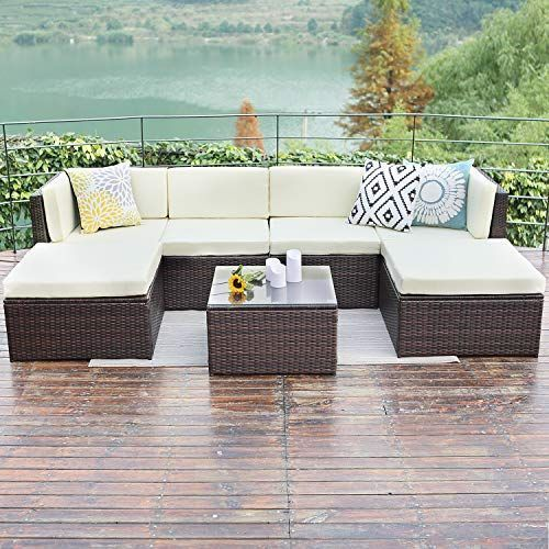 Wisteria Lane Outdoor Rattan Sectional Sofa 7 Piece Patio Furniture Set Chair Co Chair F In 2020 Patio Furniture Sets Patio Sofa Table Outdoor Patio Furniture Sets