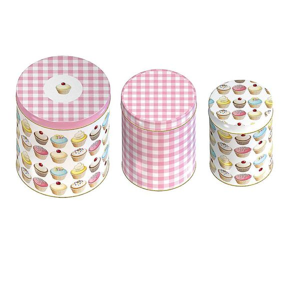 Iced Fancies Tableware Set of 3 Storage Tins - A full range of tableware and accessories available in this trendy cupcake design - a cheerful addition to your kitchen and dining table. Crockery is dishwasher and microwave safe. £10. #kitchen
