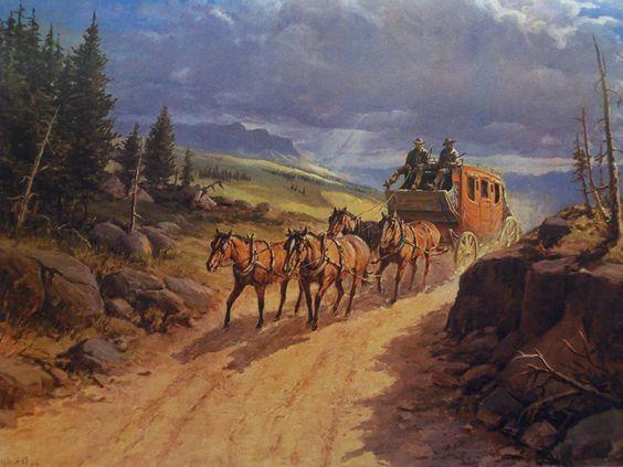 Western Stagecoach Paintings | Fine Art America  |Large Western Stagecoach Art