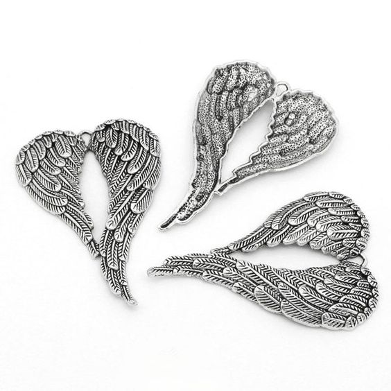 5 Antique Silver Angel Wing Set Pendants or Ornaments 2 6/8 X 1 7/8 Inch