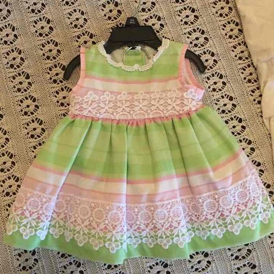 Baby Girl's Pink & Green Dress w/ Lace - Mercari: Anyone can buy & sell