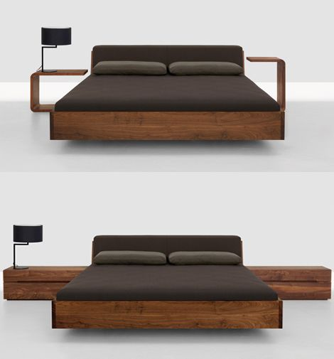 Solid wood beds fusion bed with upholstered headboard by for Meuble japonais futon