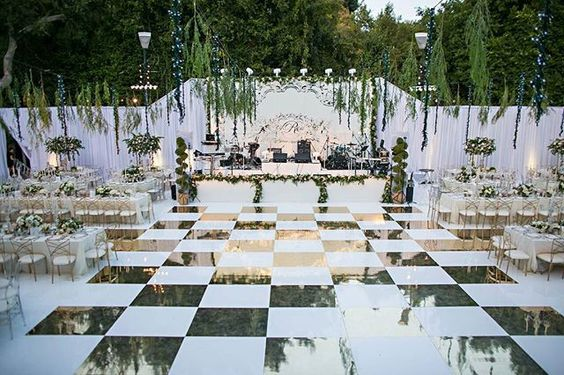 Beautiful gold and white checkered dance floor in front of our white stage for international live band Sevent at this Private Estate wedding. || Venue: Private Estate | Planner: @katecarlsonep | Photography: @jessicaclaire | Videography: @davidmedillproductions | Florals: @tictockflorals | Entertainment: @LIVentgroup - Sevent | Rentals: @palacepartyrental | Flooring & Staging: @lmeventproductions | Styling: @swanchaos #evedeso #eventdesignsource - posted by LIV Entertainment Group https://ww...