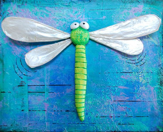 A colorful collage painting with 3D Dragonfly by Laura Zarrin.