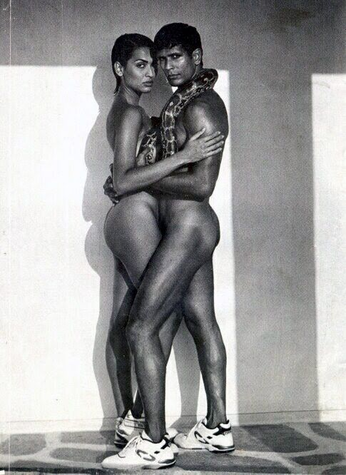 Year 1995   Tuff Shoe Ad featuring Madhu Sapre, Milind Soman, two bad pair of shoes and one shy python. First published in Cine Blitz and G. But the controversy started after the image appeared in a news item for Sunday Mid Day dated July 23, 1995. A women's group protested outside Madhu Sapre's house and handed her father saris. The matter later went to court.