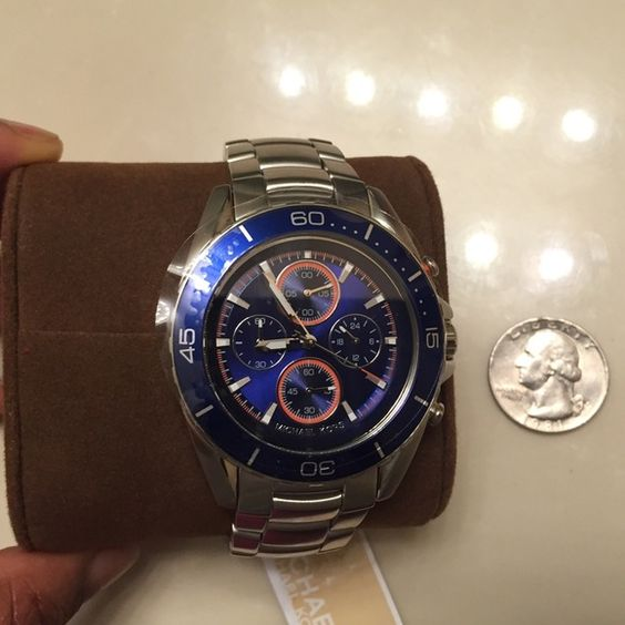 """Michael Kors stainless steel blue dial,men's watch Lovely,rare,Mens Michael Kors blue dial,stainless steel watch.Diameter of watch face in inches is 1.85"""",other measurements refer to last picture. Michael Kors Accessories Watches"""