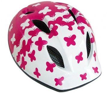 Cykelhjelm MET Buddy Str. 46-53 cm Hvid/Pink Sommerfugle