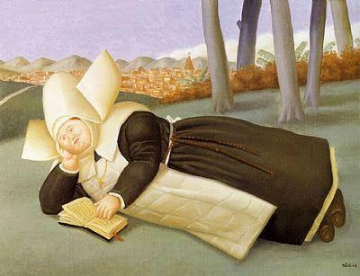 """Reclining Nun"" [reading] by Fernando Botero"
