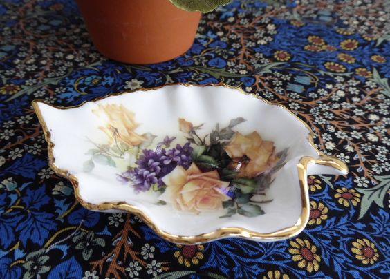 Bone China Leaf Shape Tea Bag Caddy Yellow Roses Violets England Royal Patrician