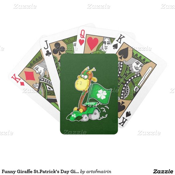 Funny Giraffe Design St. Patrick's Day / Any Occasion / Any Irish Event Gift Poker Size Playing Card Deck. Matching cards, postage stamps and other products available in the Holidays / St. Patrick's Day Category of the artofmairin store at zazzle.com