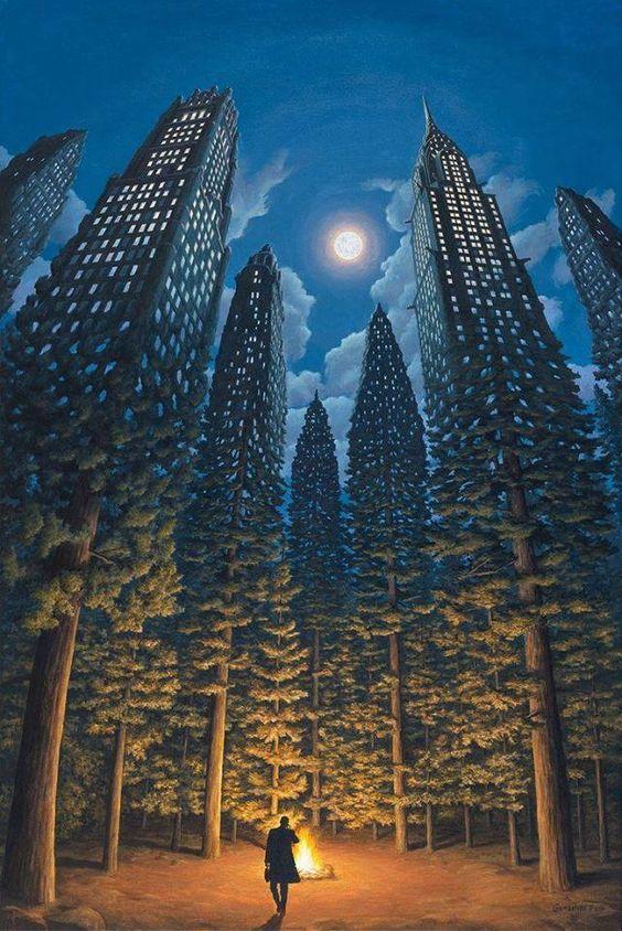 De kunstenaar wilde met dit kunstwerk laten zien hoe het donkere bos is omgebouwd tot stad met hoge gebouwen. Ik vind hem bij het surrealisme passen omdat de echte werkelijkheid vergeleken wordt met een droom hoe hij wil dat het er uit ziet of hoe het er uit zag. Deze sprak me aan, omdat ik het zelf best heftig vind om te zien hoe veel bomen er gekapt worden voor huizen of steden.