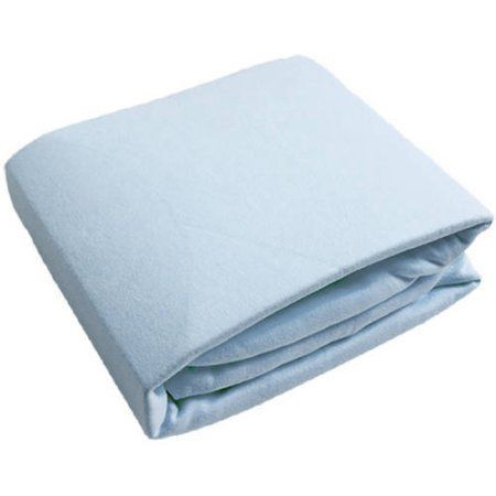 Ben and Noa Fitted Crib Flannel Sheet. Blue Solid