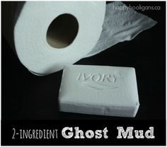 GHOST MUD.  Ivory soap and toilet paper sensory dough.  Start off with the Ivory soap in the microwave for a fantastic science experiment! - Happy Hooligans