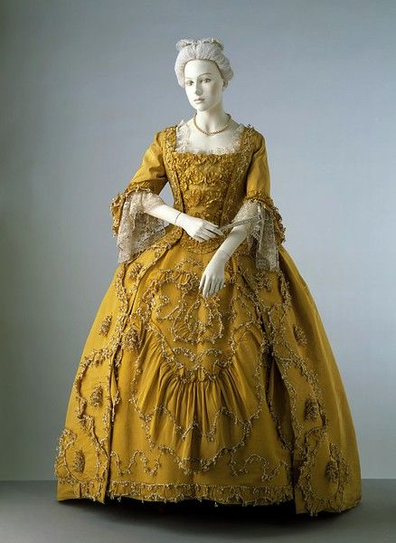 Silk sack back gown, trimmed with silk fringe, lined with linen, hand-sewn 1760