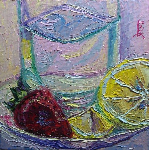 """30 Paintings in 30 days: Day 20: """"Before the Strawberry Lemonade"""", 6 x 6 inches, Oil on Canvas Panel Available here: https://www.etsy.com/shop/preranap Happy New Year Everyone!"""