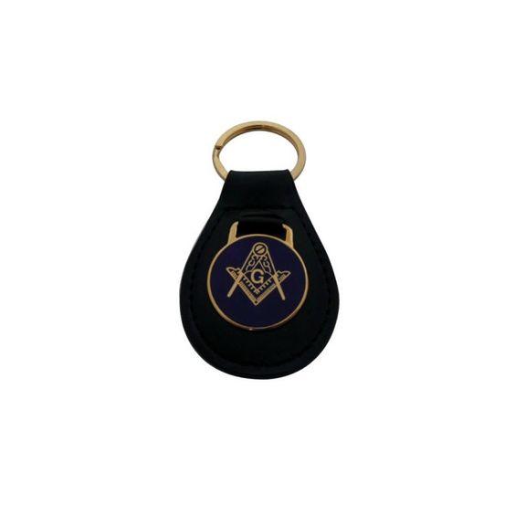 Llavero - Cuero - Placa Circular - Dorado y Azul - Símbolos Masónicos