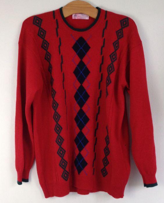 Vintage Marks & Spencer St Michael 100% wool argyle jumper UK 14 Lambswool…