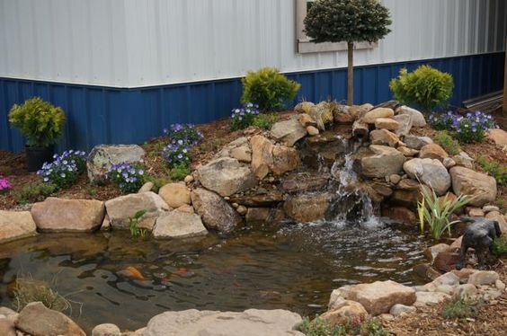 The tranquility pond display located at the entrance to for Pond retailers