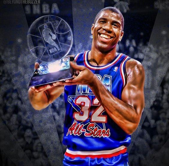 1992 All Star MVP MAGIC Johnson | ᏰᎯᏕᏦᎬᎿᏰᎯᏝᏝ | Pinterest | Magic johnson, Stars and All star