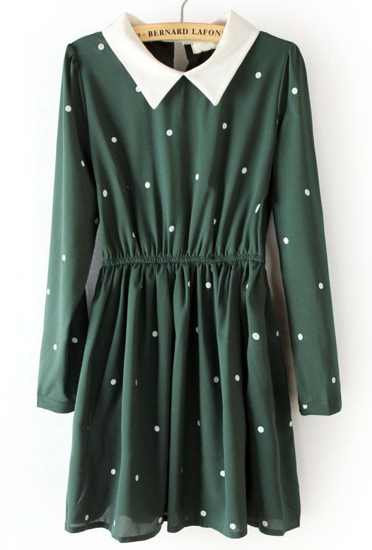 Green Contrast Collar Elasic Waist Polka Dot Dress: