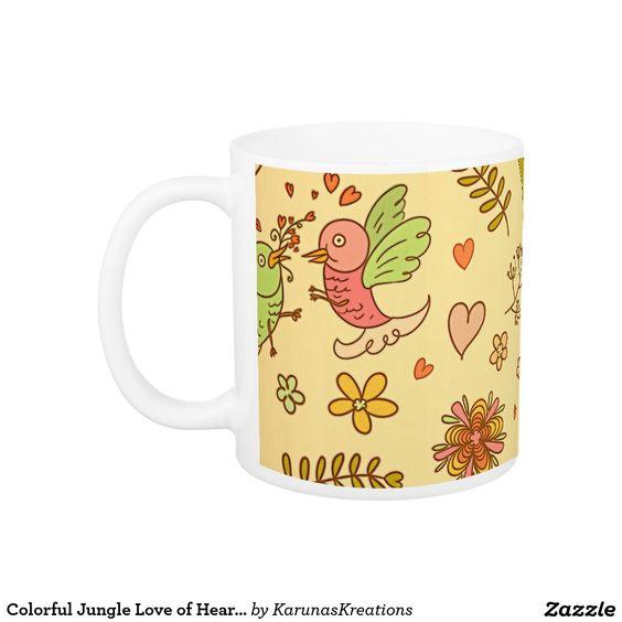 Colorful Jungle Love of Hearts Mug