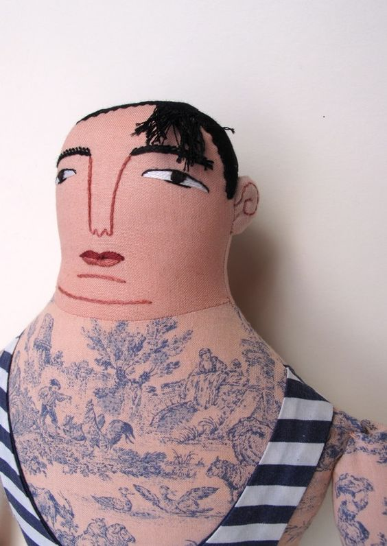 toile-tattooed doll by Mimi Kirchner