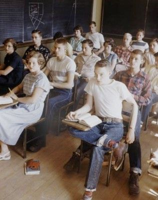 50s, school, jeans, students, classroom