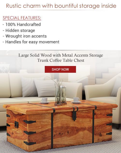 Large Solid Wood With Metal Accents Storage Trunk Coffee Table Chest Chest Coffee Table Storage Trunk Accent Storage #storage #trunk #living #room