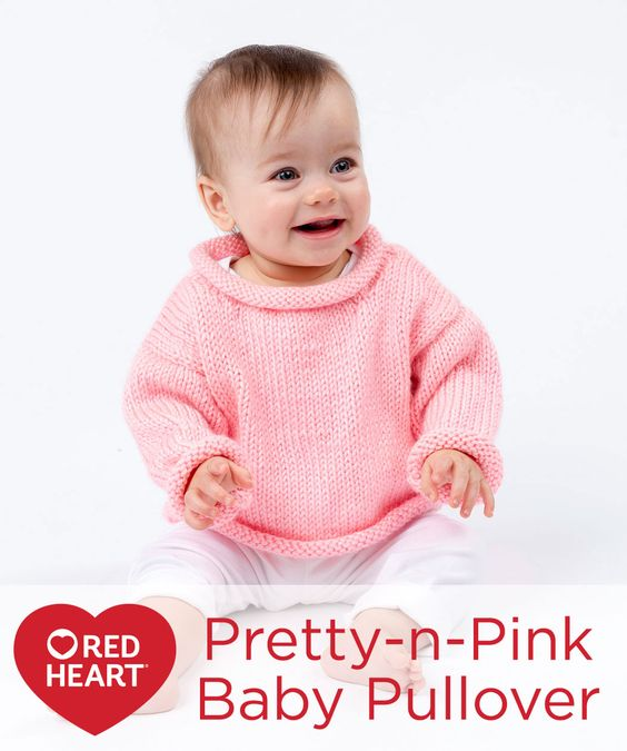 Pretty-n-Pink Baby Pullover Free Knitting Pattern in Red Heart Yarns -- With rolled edges and simple Stockinette stitch pieces, this sweater is easy to knit and easy to pull over baby's head. Choose any of the baby-friendly colors of this easy-care yarn to make sure baby stays fashionably warm.