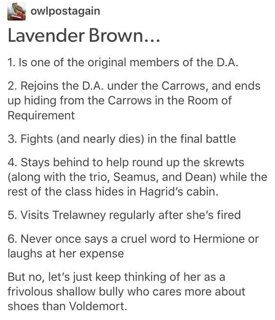 Lavender brown, Harry Potter, hp