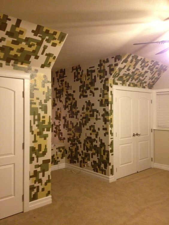Military themed boys room one wall digi print camo stuff for Army themed bedroom ideas