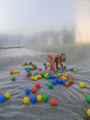 how to make a walk-in bubble. (cheap and easy -  I LOVE this! Also this site has tons of ideas for play based learning!