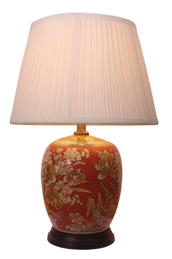 Chinese porcelain jar table lamp set in a lovely floral for 10 inch table lamps