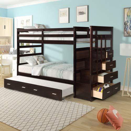 New Dklgg Solid Wood Bunk Bed Frame Storage Drawers Solid Wood