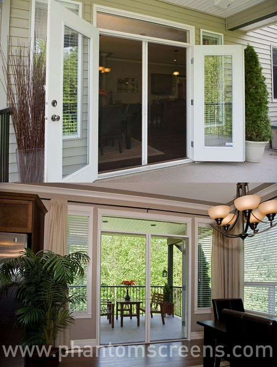Retractable door screens for french entry and sliding for Windows with built in retractable screens