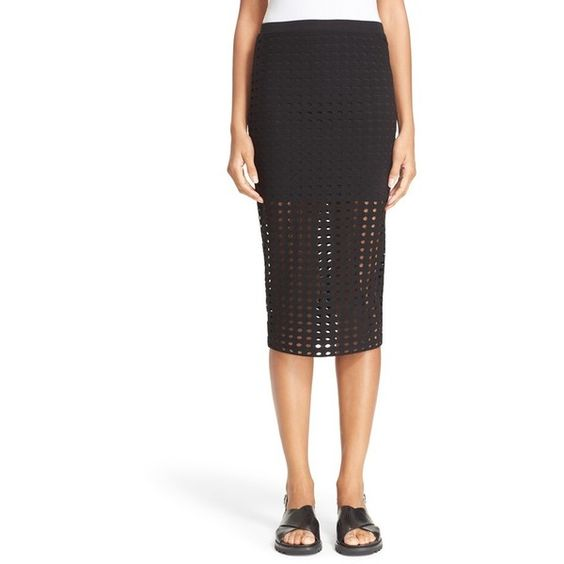 T by Alexander Wang Circle Cutout Jersey Midi Skirt ($195 ...