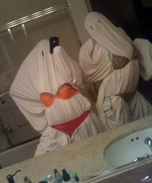 Slutty ghost for Halloween.  LOL... this is funny!!!