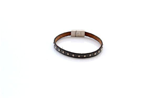 Bracelet Enfant Cuir clouté laiton Gris foncé (Taille personnalisable à la…