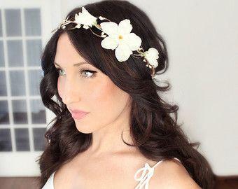 Flower Cascade Crown Wedding Tiara wedding by DeloopBridal on Etsy