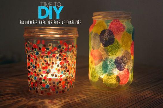 DIY : recycler un pot de confiture en photophore à pois coloré