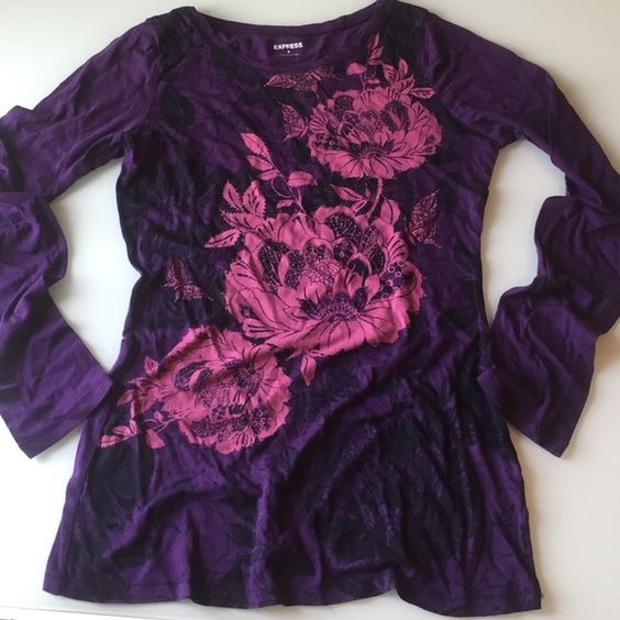 Express purple floral long sleeved shirt Size small, like new express cotton long sleeve shirt Express Tops