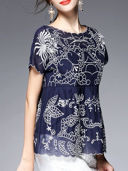 Dark Blue Embroidered Short Sleeve Polyester Two Piece Blouse