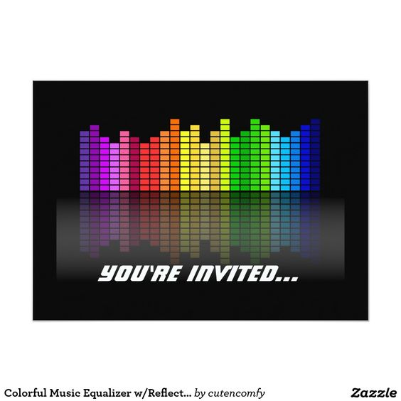 Colorful Music Equalizer w/Reflection, Cool Techno 5x7 Paper Invitation Card