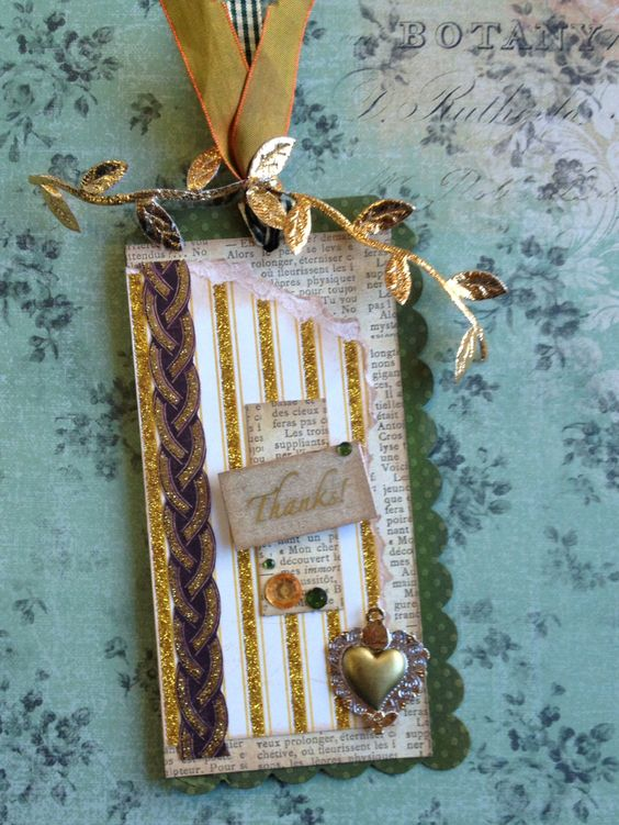 Thank you tag with an Irish inspiration. We used My Minds Eye, Bazzill and Die Cuts With a View paper. We also used fun Mayarts ribbon.