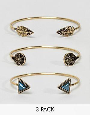 ASOS DESIGN - Lot de 3 bracelets manchette à pierres triangulaires et pointes de flèche